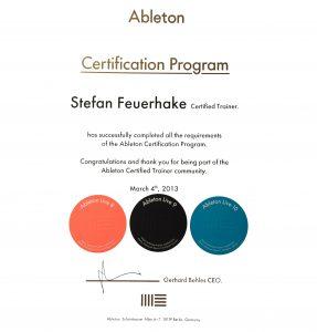 Stefan Feuerhake Ableton Zertifikat
